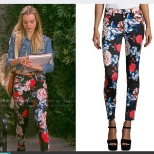 7FAM floral ankle skinny jean high rise